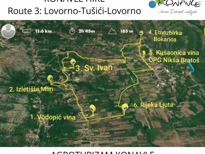 Poziv na 3. vođenu pješačku turu kroz Konavle, Lovorno-Tušići-Lovorno
